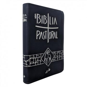 NOVA BÍBLIA PASTORAL MÉDIA COM ZIPER AZUL