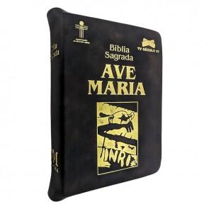 BÍBLIA COM ZÍPER MÉDIA MÃOS ENSAGUENTADAS DE JESUS - AVE MARIA