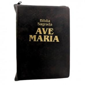 BÍBLIA SAGRADA AVE MARIA COM ZÍPER MARROM