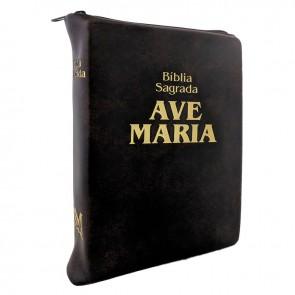BÍBLIA SAGRADA AVE MARIA DE BOLSO COM ZÍPER MARROM
