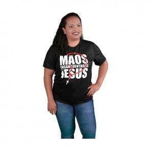 CAMISETA TERÇO E MÃOS ENSANGUENTADAS DE JESUS - PRETA