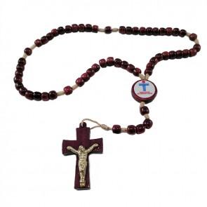 TERÇO COM CRUZ DE CRISTO - 4 MM MÃOS ENSANGUENTADAS DE JESUS