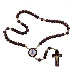 TERÇO COM CRUZ DE CRISTO - 6 MM MÃOS ENSANGUENTADAS DE JESUS